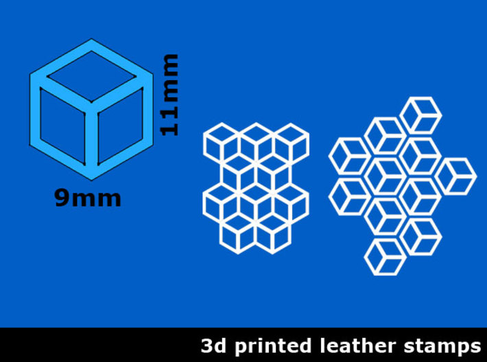 Leather stamp 6, honeycomb design + tool 3d printed Here you can see two patterns you can make with this leather stamp