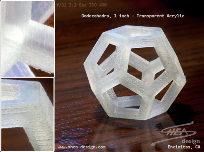 Dodecahedra, 1 Inch, 5 sided sections - smpl matrl 3d printed