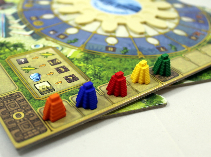 Ziggurat, Mayan Temple 3d printed Photo of 5 tokens on the Tzolk'in Game Board