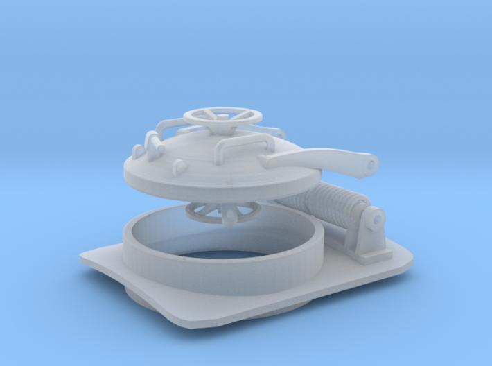 1/72 U-boat Hatch with hinge (curved base) 3d printed