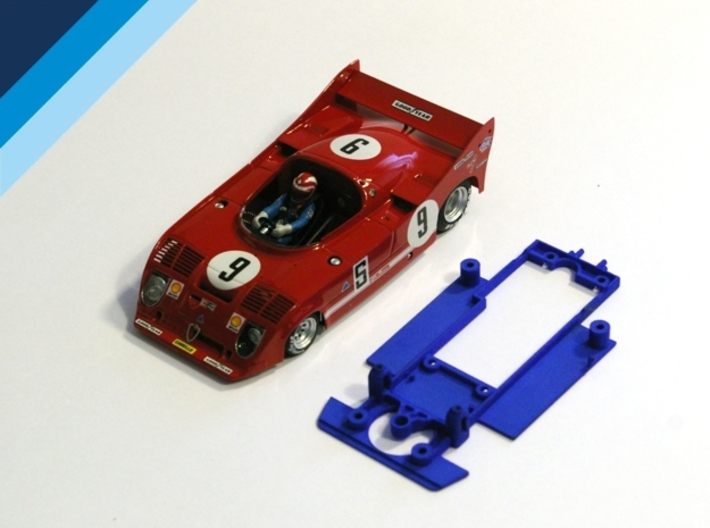 1/32 SRC Alfa Romeo 33TT12 Chassis for Slot.it pod 3d printed Chassis compatible with SRC Alfa Romeo 33TT12 body (not included)