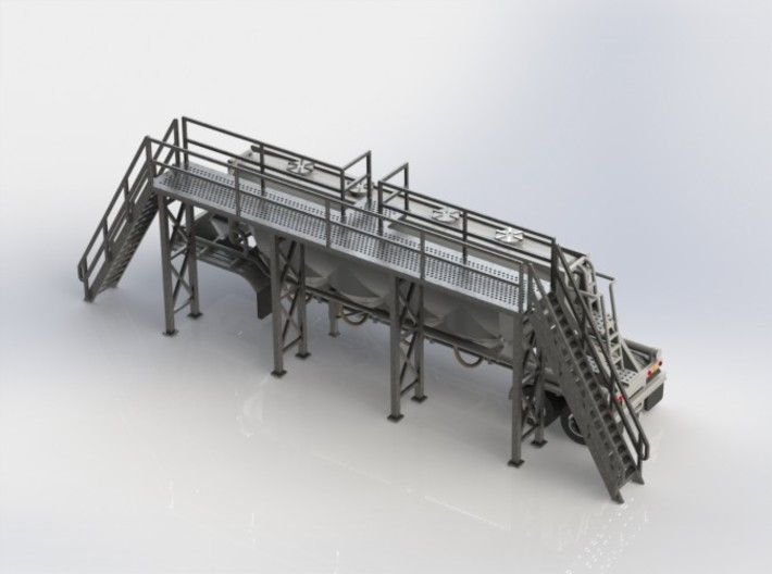 HO 1/87 Long Loading Platform for trailers 3d printed CAD render shown with one of my 3D-printed dry bulk trailers