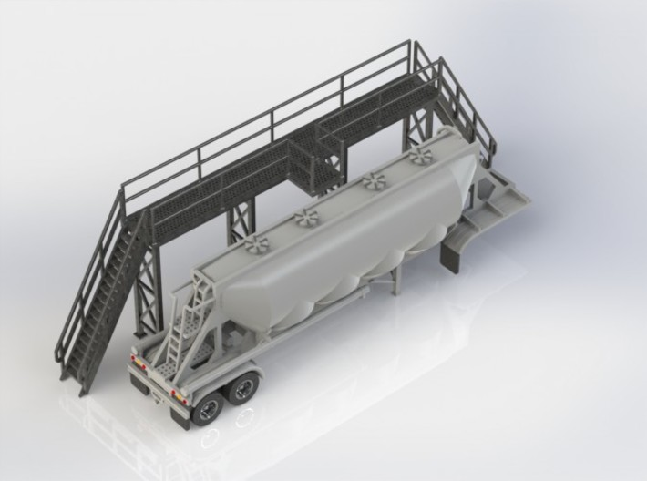 HO 1/87 Long Loading Platform for trailers 3d printed Annother CAD render with a tariler alongside for comparison.