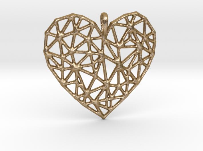 Triangular Geometric Grid Heart Pendant 3d printed