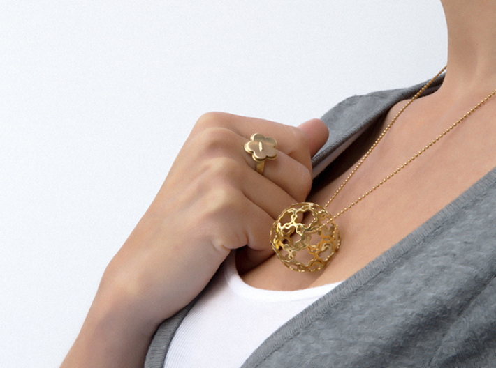 Pendant Flower Ball 33 3d printed Flower Ball pendant in Polished Brass, Flower Your Day ring in Polished Brass