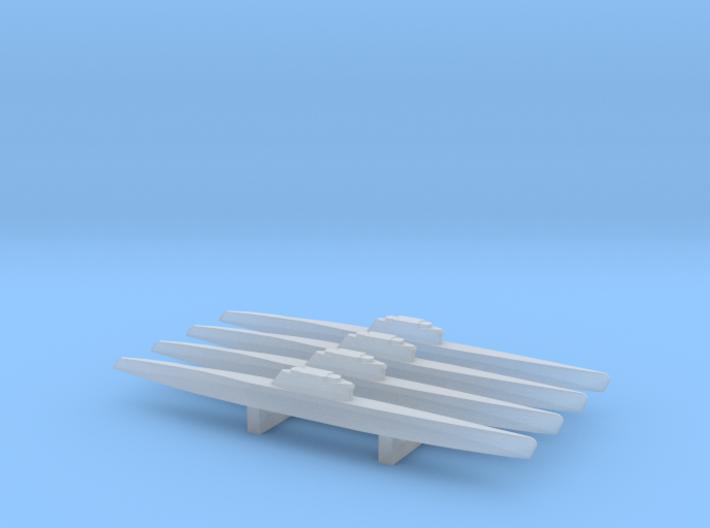 Type XXI Submarine x 4, 1/1800 3d printed