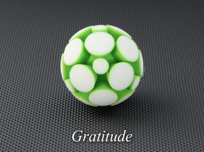 LuminOrb 2.7 - GRATITUDE 3d printed Photograph of GRATITUDE in Full Color Sandstone