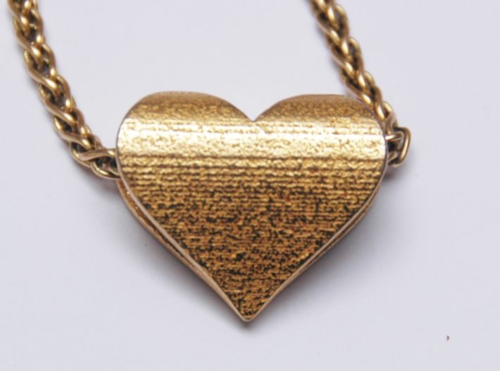 Personalized Golden Heart pendant 3d printed Back
