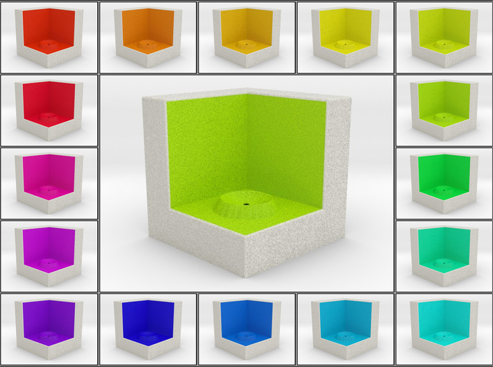 LuminOrb 1.2 - Cube Stand 3d printed Shapeways render of Cube Display Stand for SELFLESSNESS in Full Color Sandstone