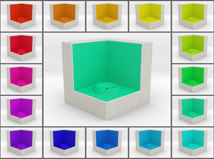 LuminOrb 1.5 - Cube Stand 3d printed Shapeways render of Cube Display Stand for KINDNESS in Full Color Sandstone
