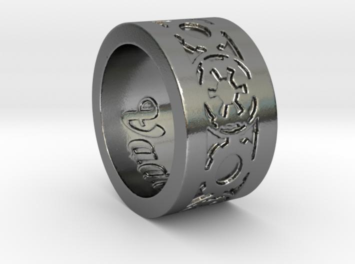 DarkSide Ring delta engraved Size 9 3d printed