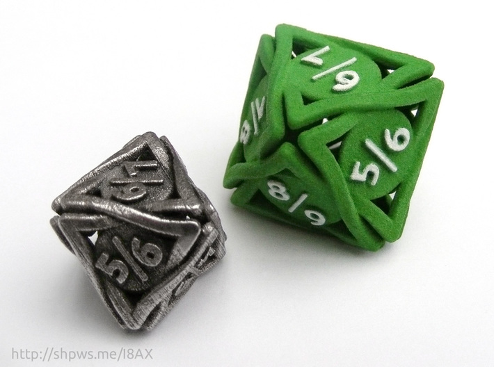 Large 'Twined' Dice D8 Spindown Tarmogoyf P/T Die 3d printed The model compared to the smaller steel version