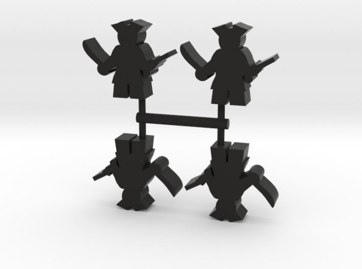 Pirate Meeple with sword and pistol, 4-set 3d printed