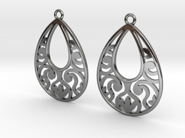 Teardrop Filigree Earrings 3d printed