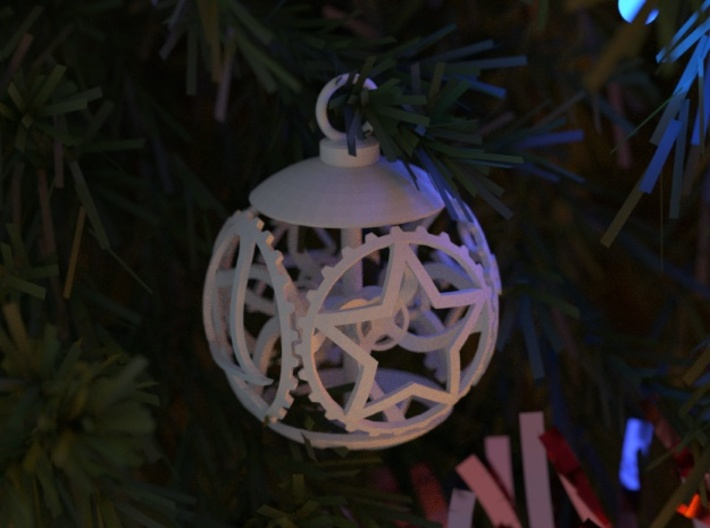 Gear Bauble 3d printed Rendering of the Bauble in a Christmas tree.