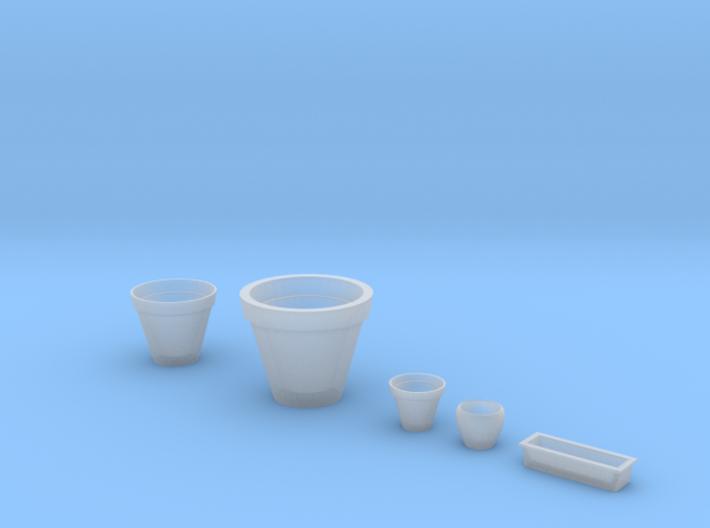 Flowerpots set (5 pcs.) in 1/35 scale 3d printed