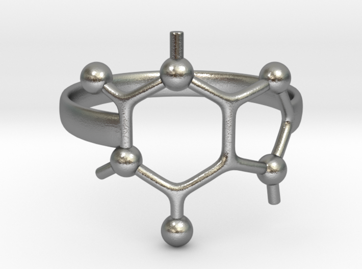 Caffeine molecule ring - Size 8 3d printed