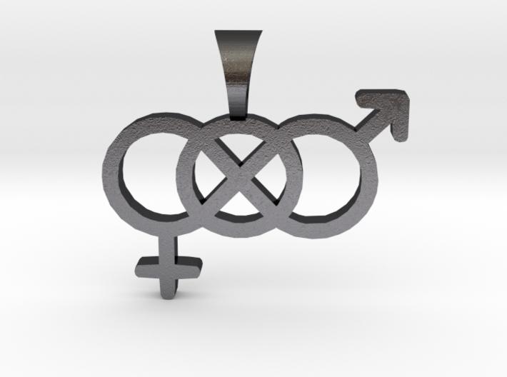 Smaller Genderfluid / Genderqueer Symbol Pendant 3d printed