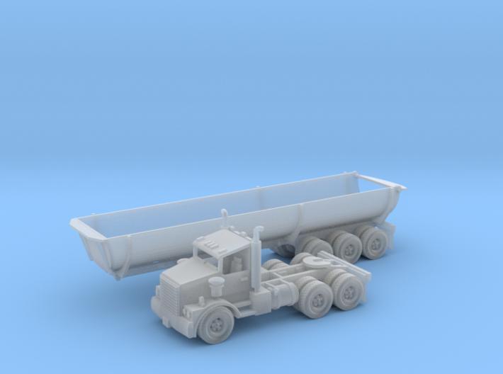 40' Cylinder Dump Bed Z Scale 3d printed Cylinder Dump bed trailer Z scale
