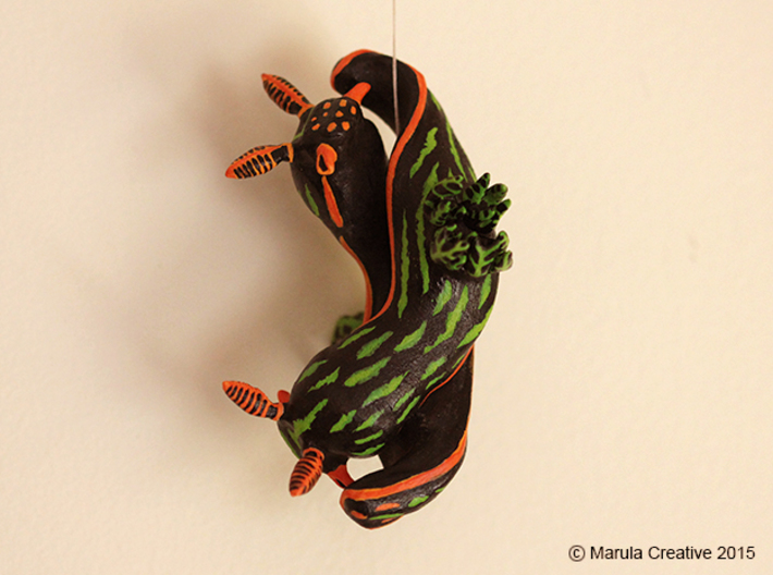Yana the Nudibranch 3d printed Hand Painted White Strong & Flexible Polished