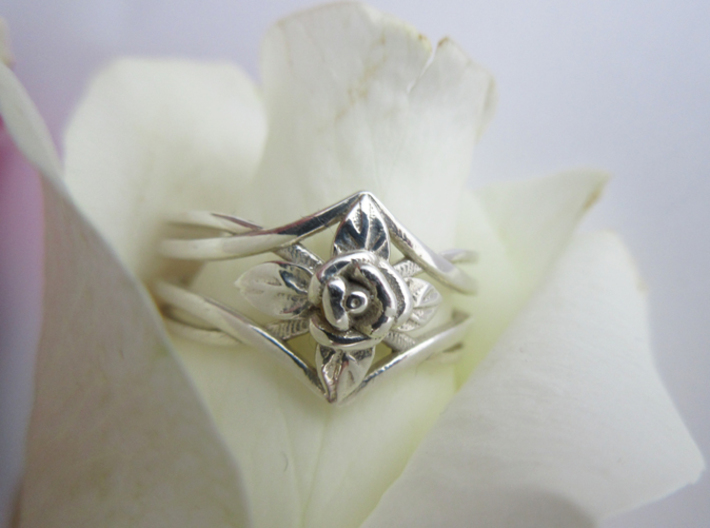 Romantic Rose ring with leaves 3d printed