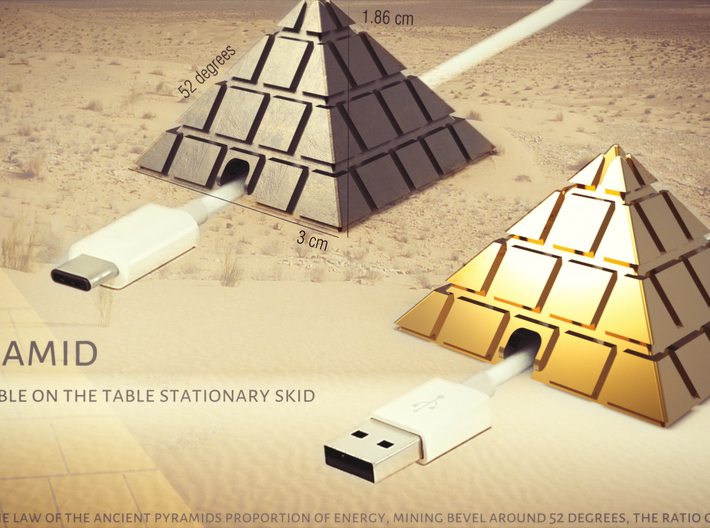 Pyramid - USB cable on the table stationary skid 3d printed