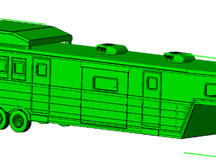 1/50th 46 foot large Bloomers type Horse Trailer 3d printed