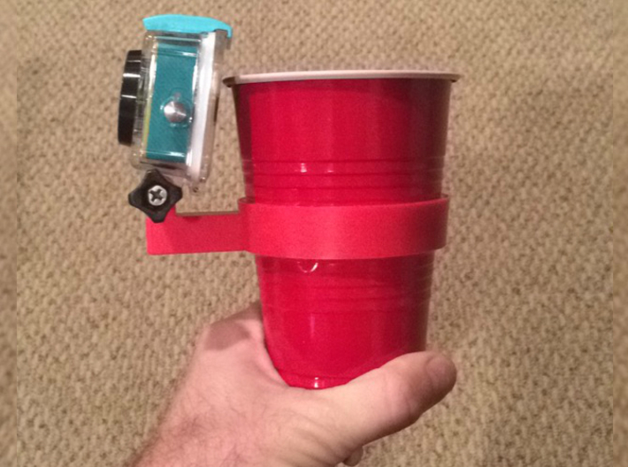 Solo Cup GoPro-style Mount 3d printed Using a Xiaomi Yi Camera