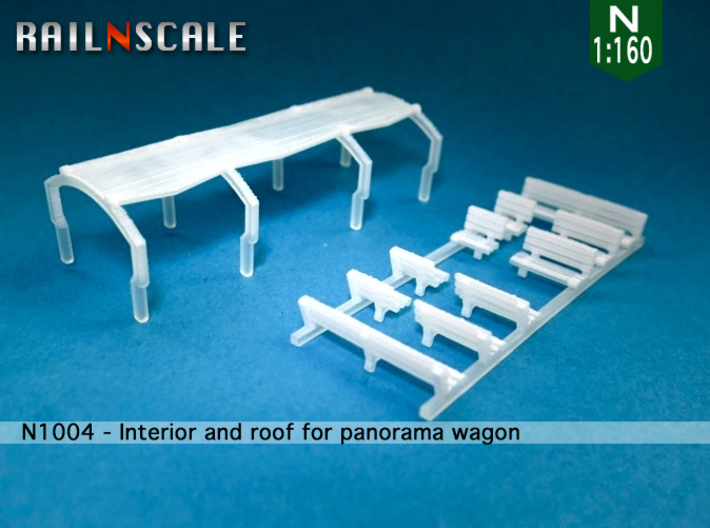 Interior and roof for panorama wagon (N 1:160) 3d printed