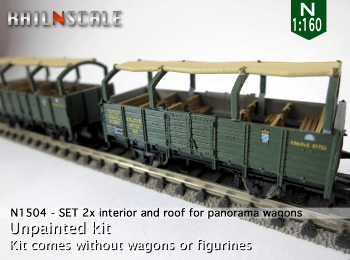 SET 2x Interior and roof for panorama wagon (N) 3d printed