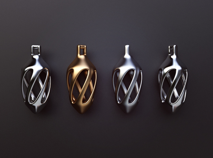 Twisted spindle pendant 3d printed