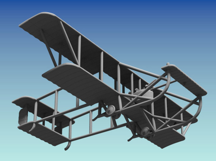 "Maurice Farman M.F.7 ""Longhorn"" 3d printed Computer render of 1:144 model"