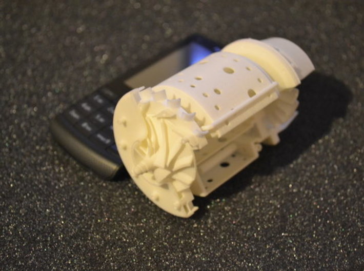 Jet engine cutaway 3d printed white strong flexible Turbine cutaway real