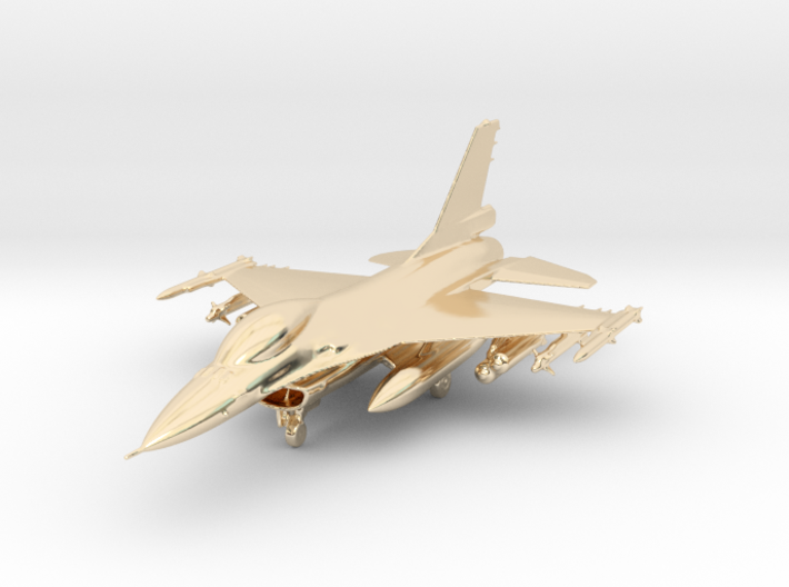 F-16 Fighting Falcon Jet Gold & Precious materials 3d printed