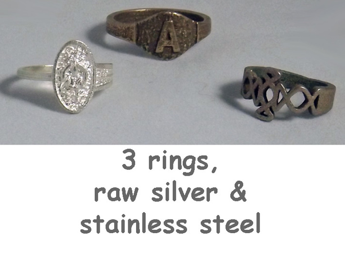 Textured Signet A 3d printed Group of rings includes Initial A in stainless steel.