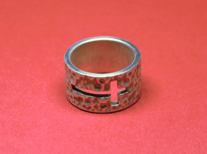 Wide, Thick Band - Cross 3d printed Photo of finished ring