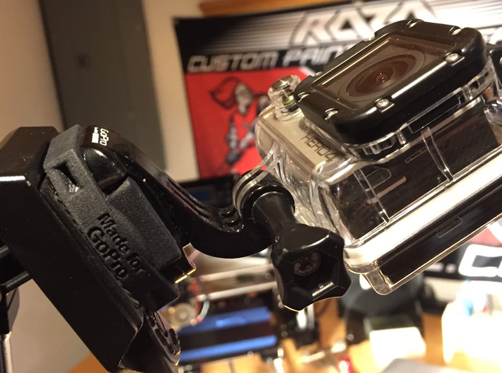 GoPro Standard Tripod and Zip Tie Mount 3d printed Mount on a tripod