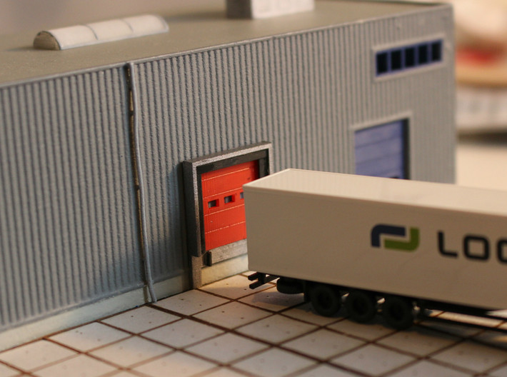 N Scale 3x Loading Dock +Door 3d printed Dock in front of a blank wall (wall visible through the windows)
