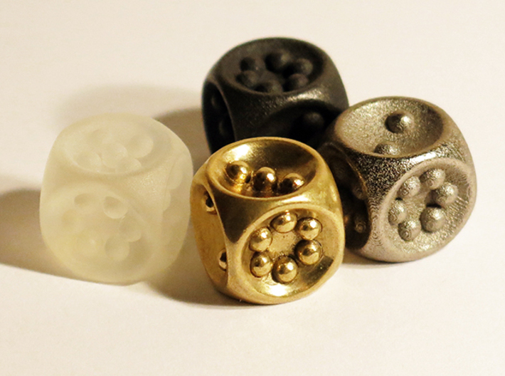 Gravity D6 3d printed Frosted Extreme Plastic, Polished Brass, Polished Grey Steel and Polished Nickel Steel