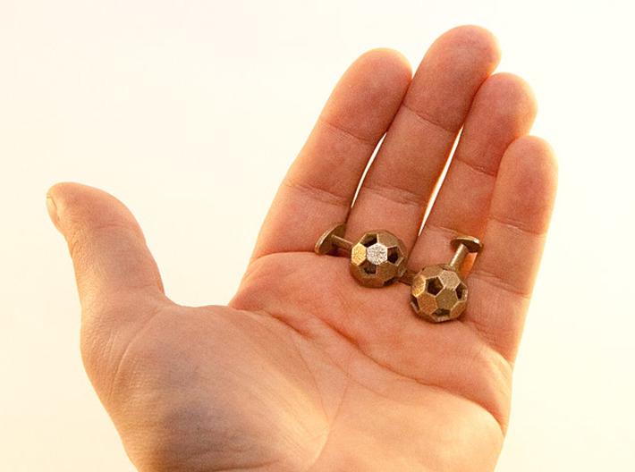 Soccer Cufflinks 3d printed Stainless steel to scale