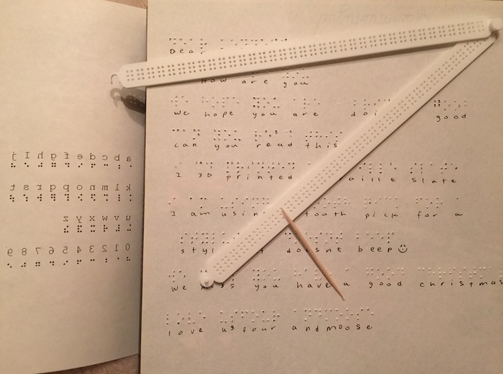 Manual Braille Slate and Stylus 3d printed
