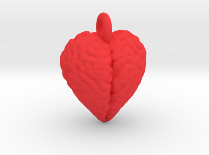 Brain Heart pendant / earring 3d printed