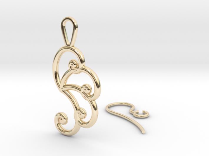 Fibonacci Earring 4 3d printed