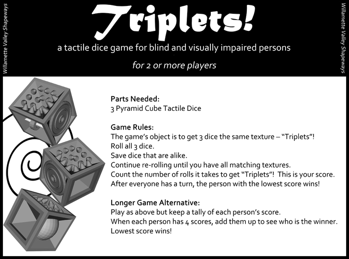 Pyramid Cube Tactile Dice 3d printed Triplets! Dice Game for blind and visually impaired persons