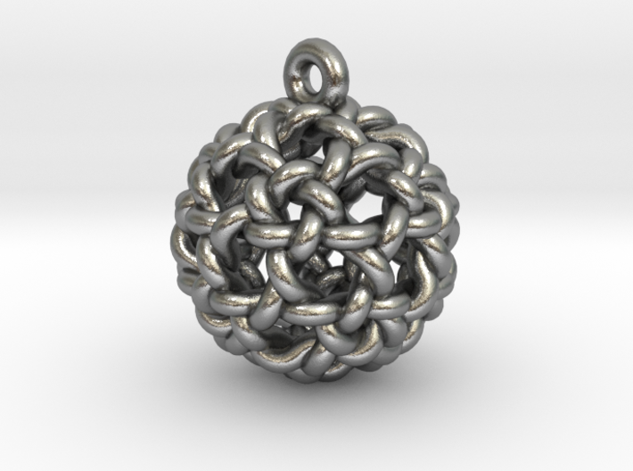 Icosidodeca Knot Earring 3d printed