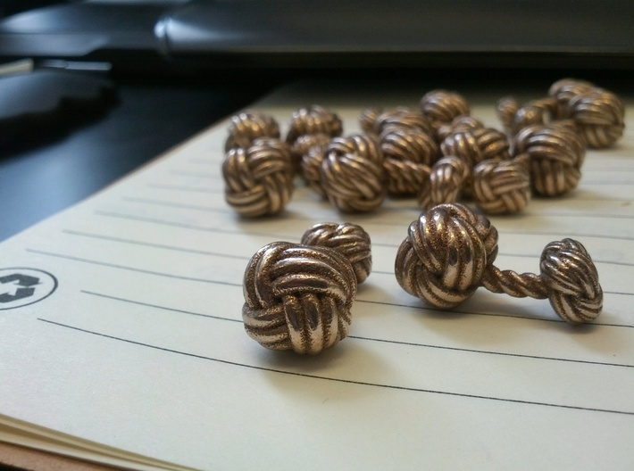Woven Knot Cufflink 3d printed Steel - glossy