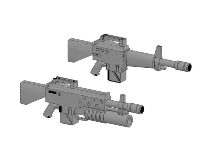 x10 NAM16 Assault Rifles for 28mm miniatures 3d printed