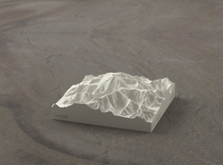 3'' Denali, Alaska, USA, Sandstone 3d printed Radiance rendering, viewed from the South