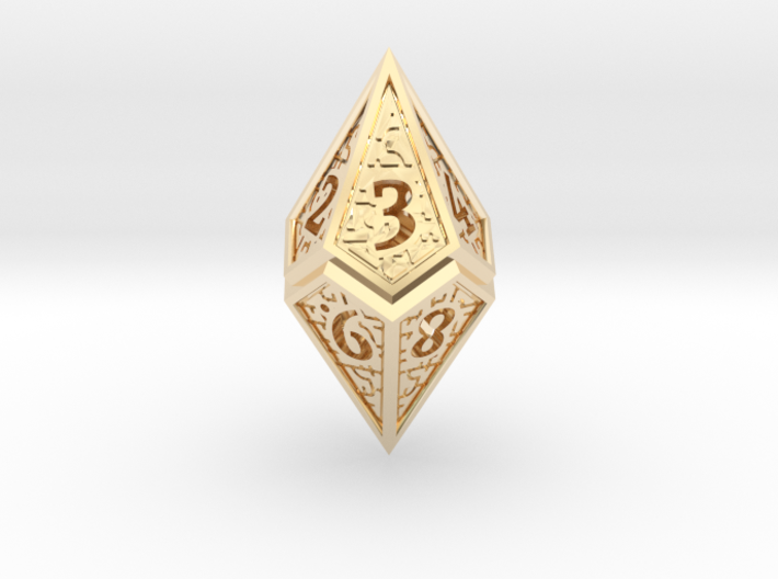 Hedron D10 (v2 open) Spindown - Hollow 3d printed
