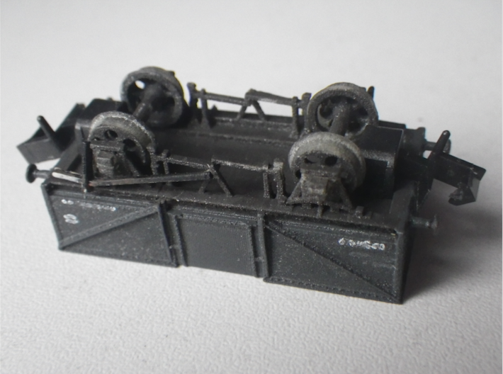 GWR O30 Steel High Open 2mm:1ft / N-gauge 3d printed The underside, with brake crank shaft not added yet.